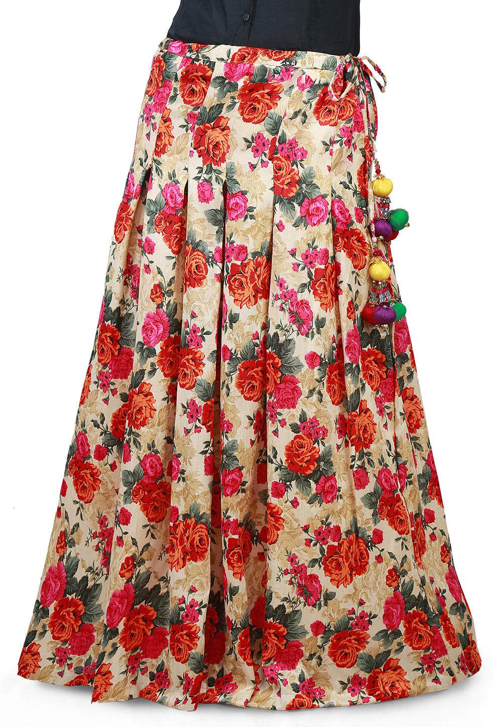 Floral Printed Bhagalpuri Silk Pleated Long Skirt in Beige