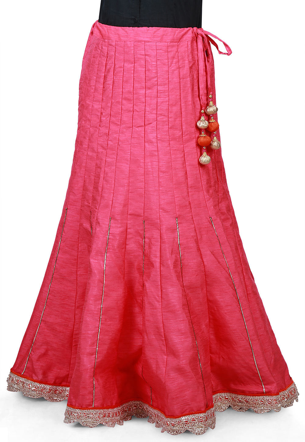Scallop Border Bhagalpuri Silk Long Skirt in Pink
