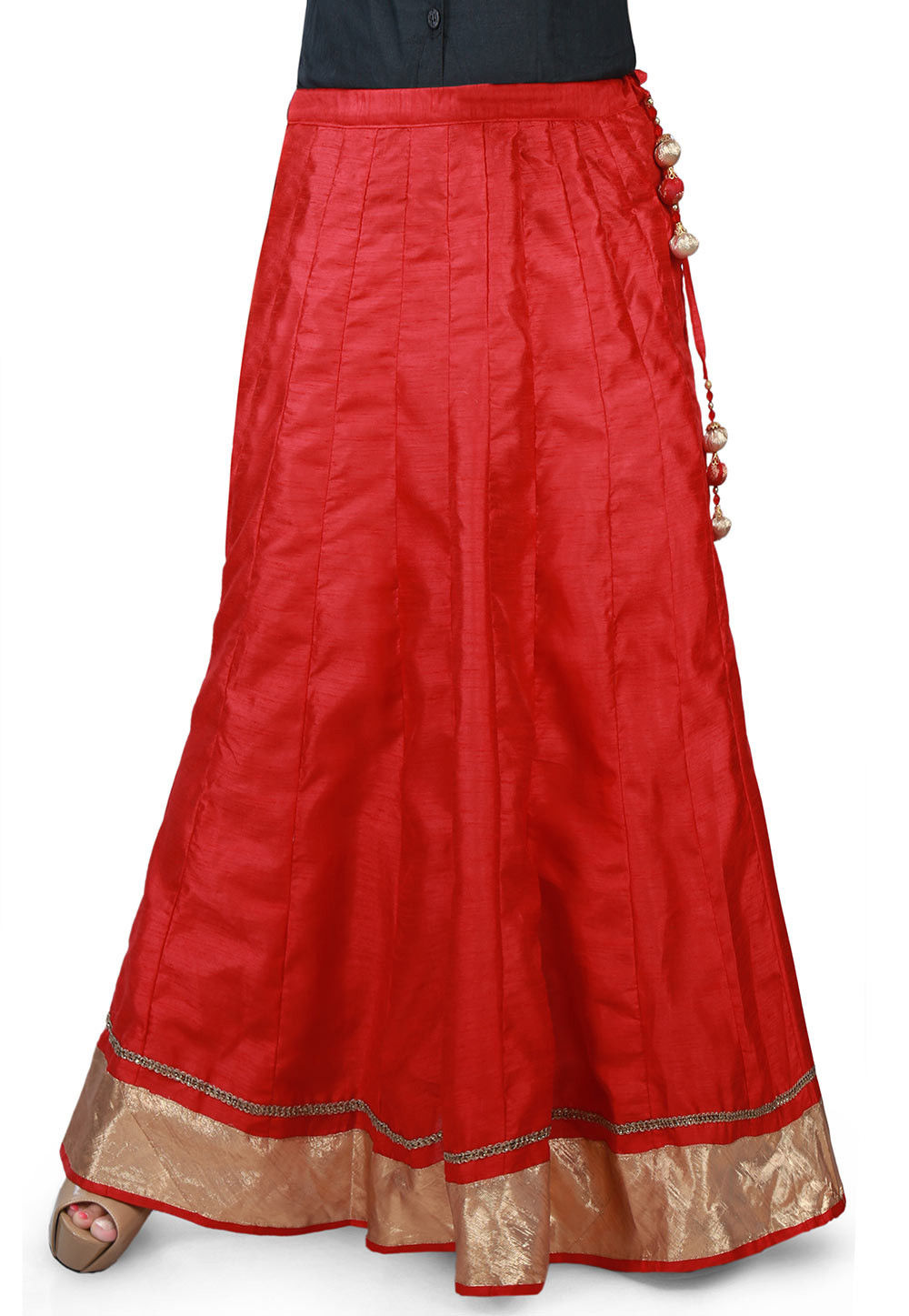 Contrast Patch Border Bhagalpuri Silk Long Skirt in Red
