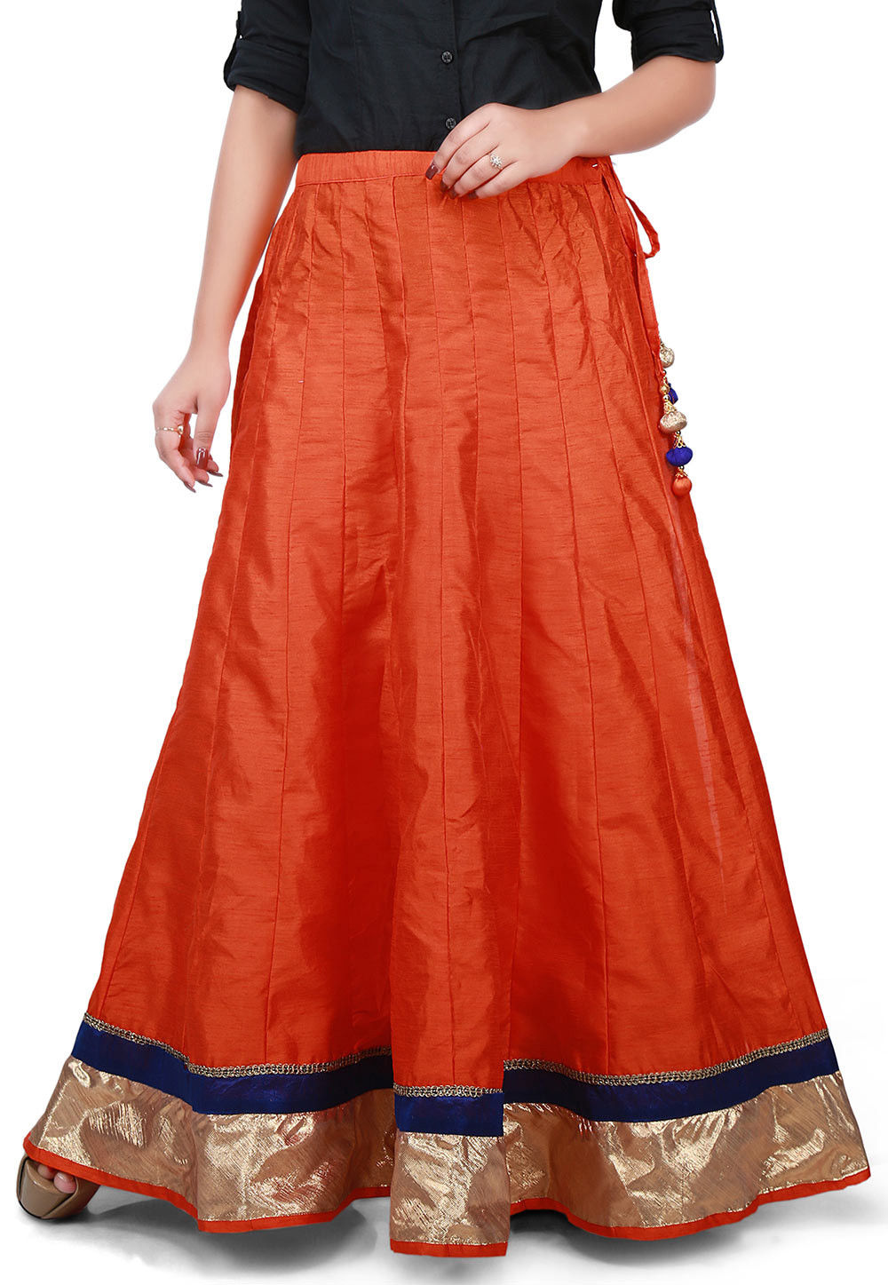Contrast Patch Border Bhagalpuri Silk Long Skirt in Orange