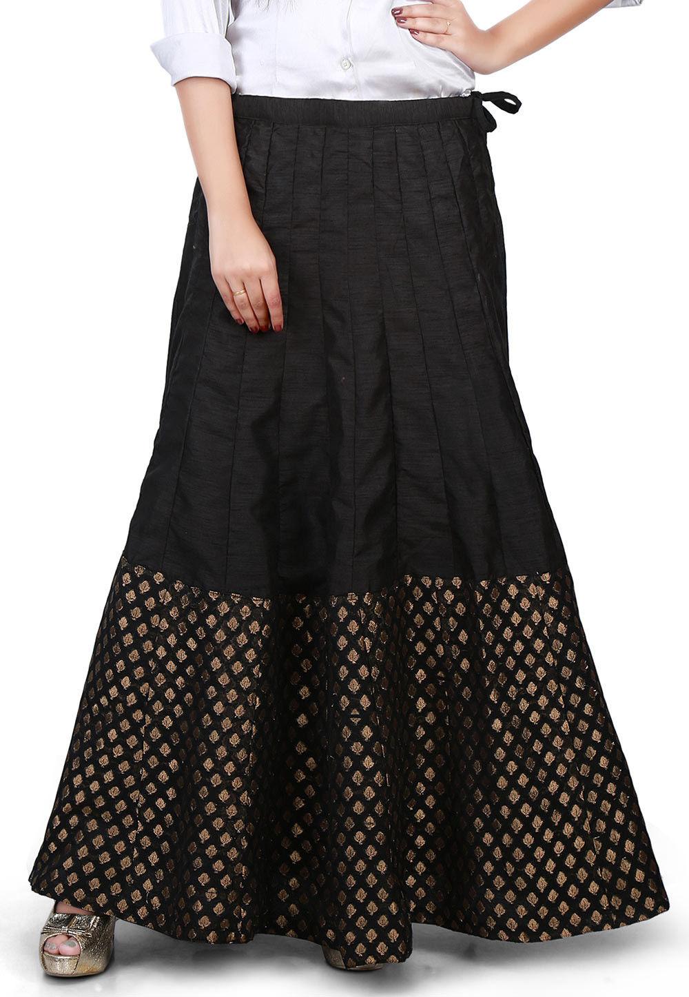 Woven Bhagalpuri Silk Long Skirt in Black