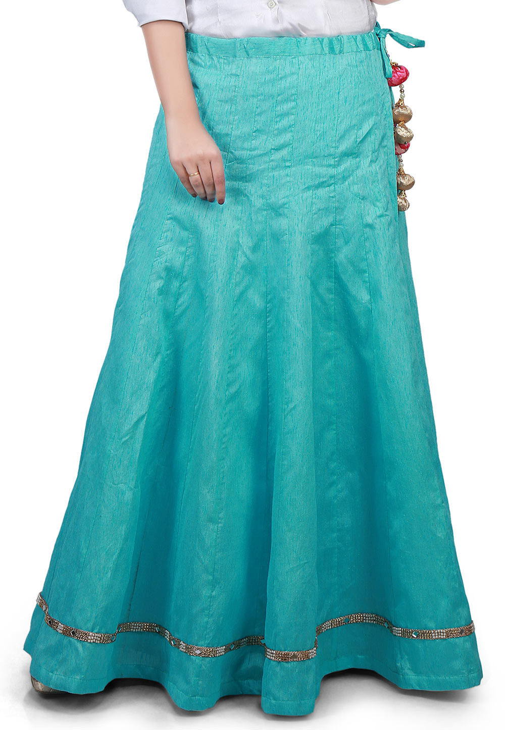 Embellished Border Bhagalpuri Silk Long Skirt in Turquoise