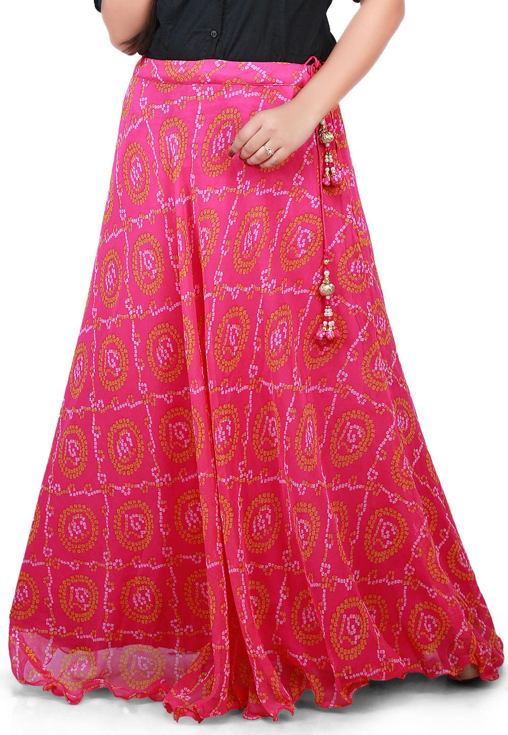 Bandhej Georgette Long Skirt in Pink