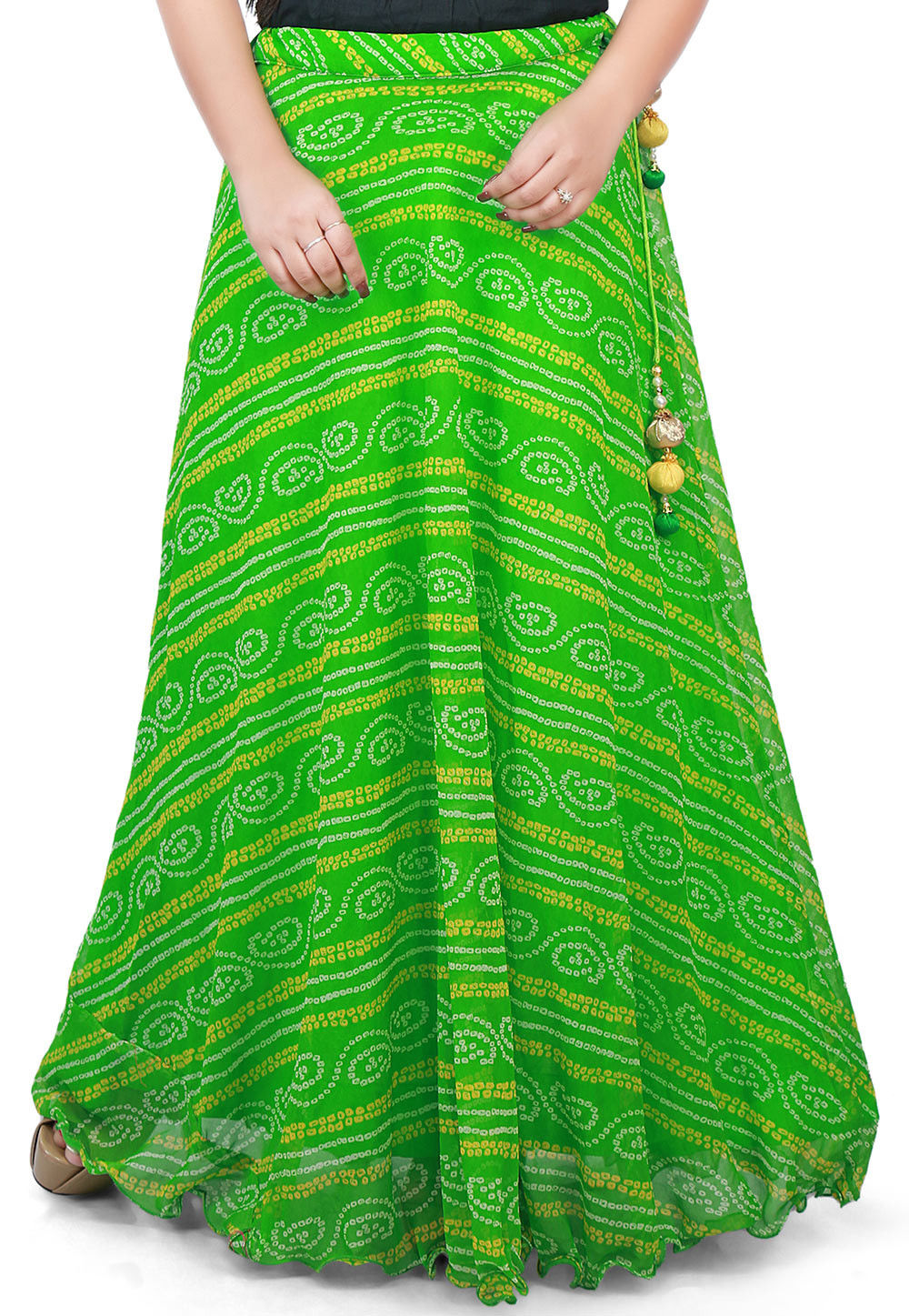 Bandhej Georgette Long Skirt in Green