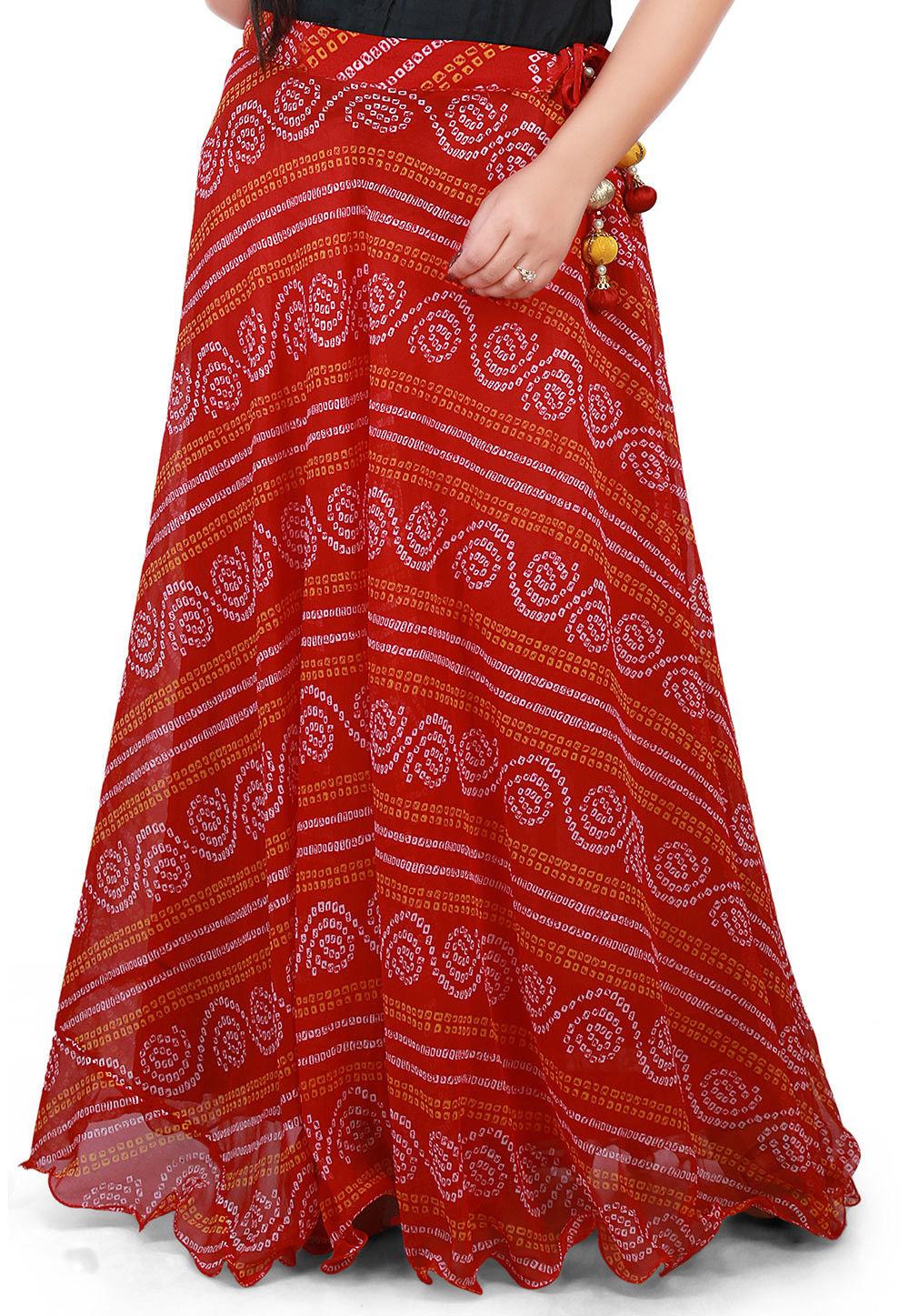 Bandhej Georgette Long Skirt in Red