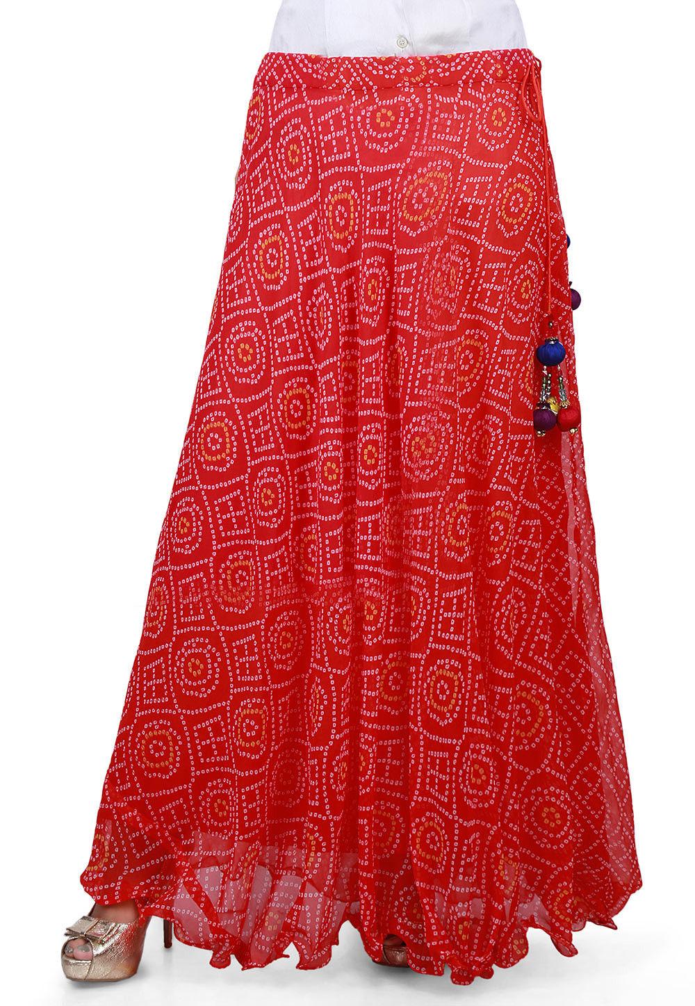 Bandhej Georgette Long Skirt in Red : BNJ237