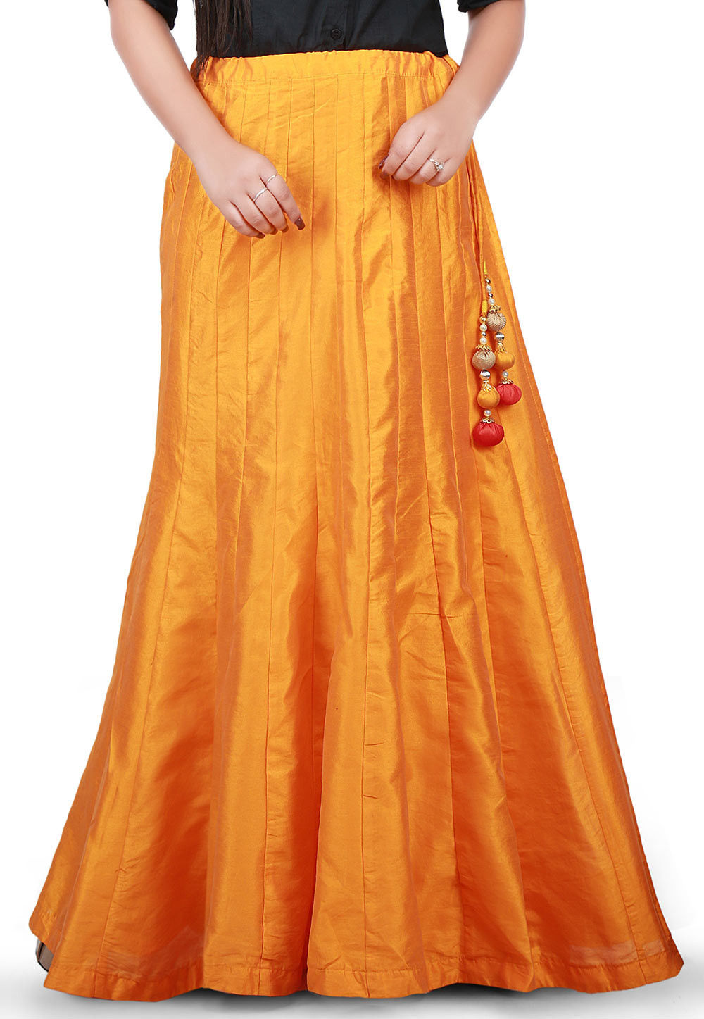 Plain Dupion Silk Long Skirt in Mustard