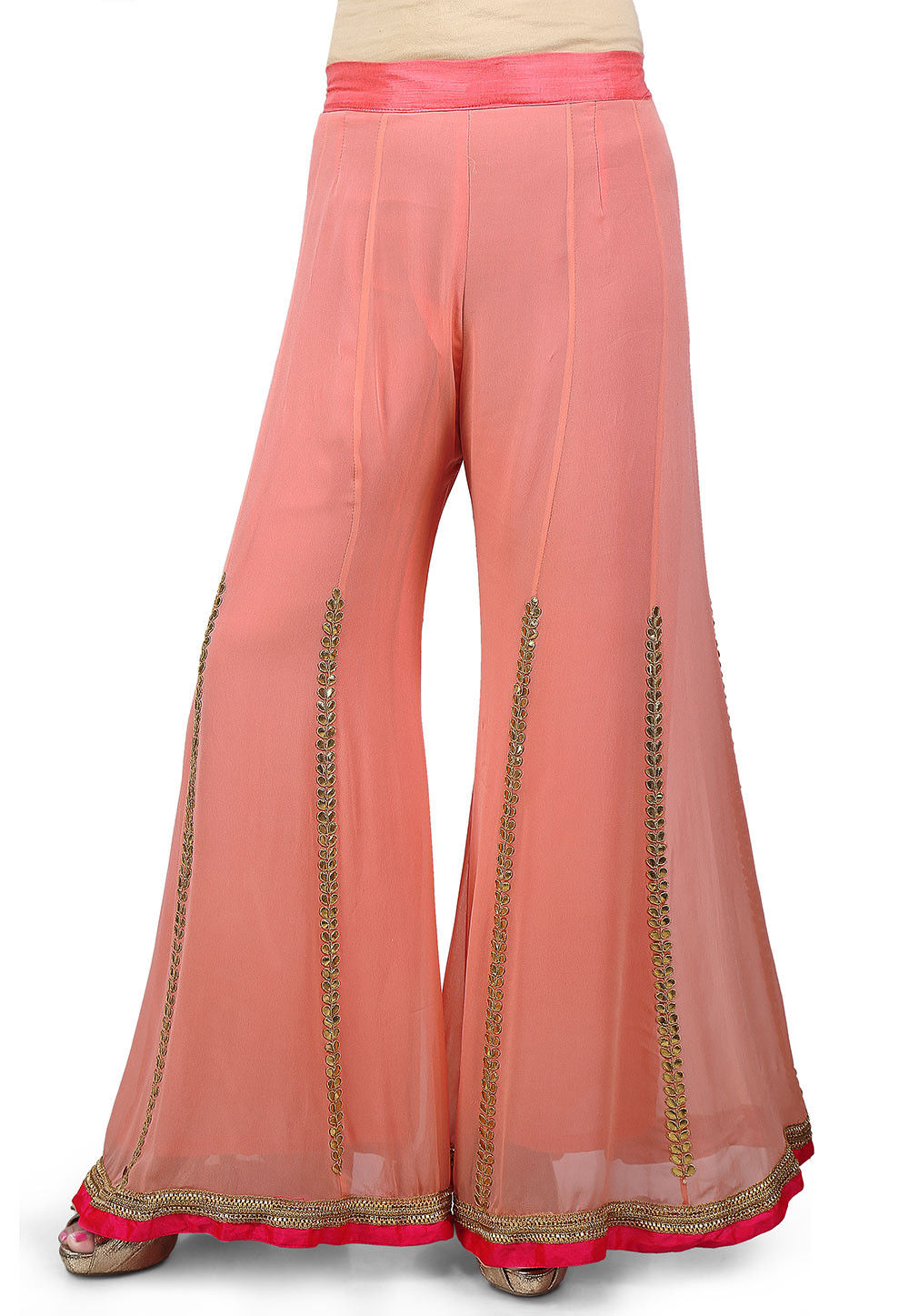 Gota Patti Embroidered Georgette Palazzo in Peach