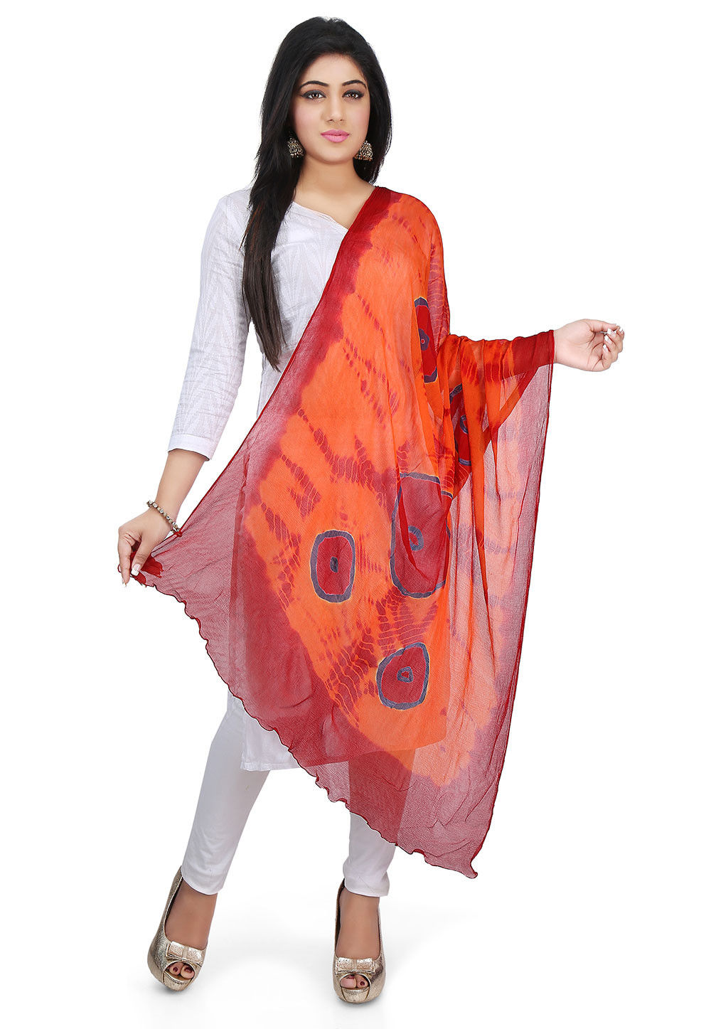 Tie N Dye Chiffon Dupatta in Orange