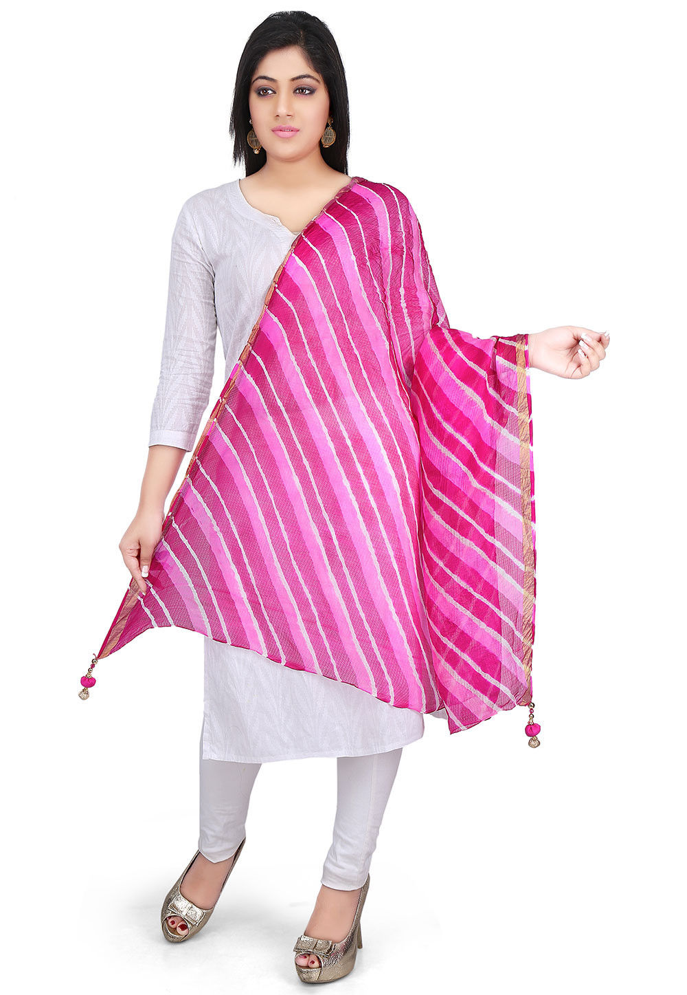 Leheriya Pure Kota Silk Dupatta in Pink