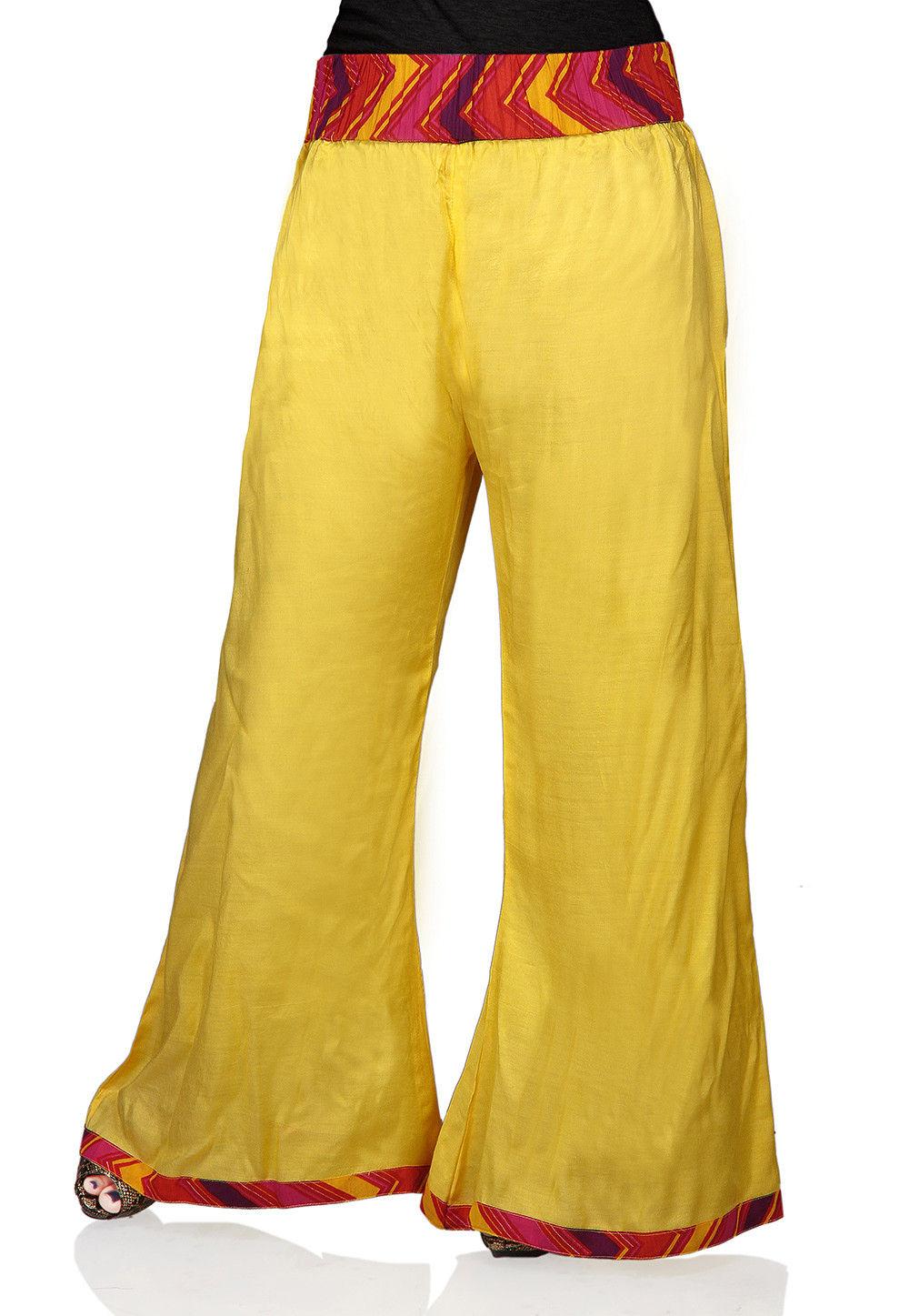 Plain Shantoon Pallazo in Yellow