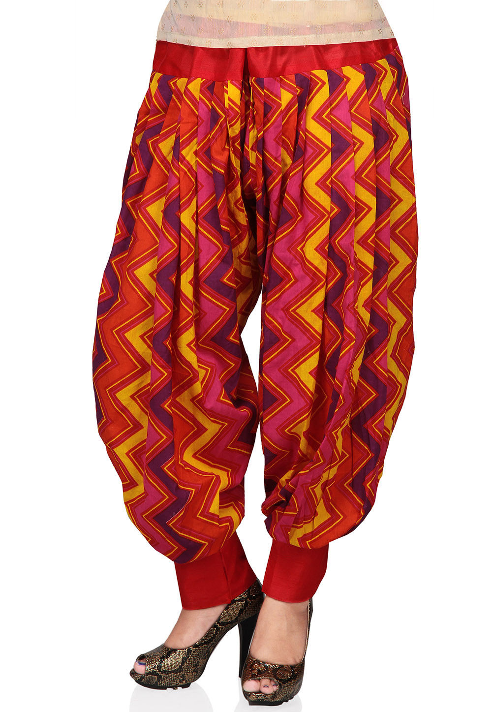 Printed Cotton Readymade Jasmine Pant in Multicolour