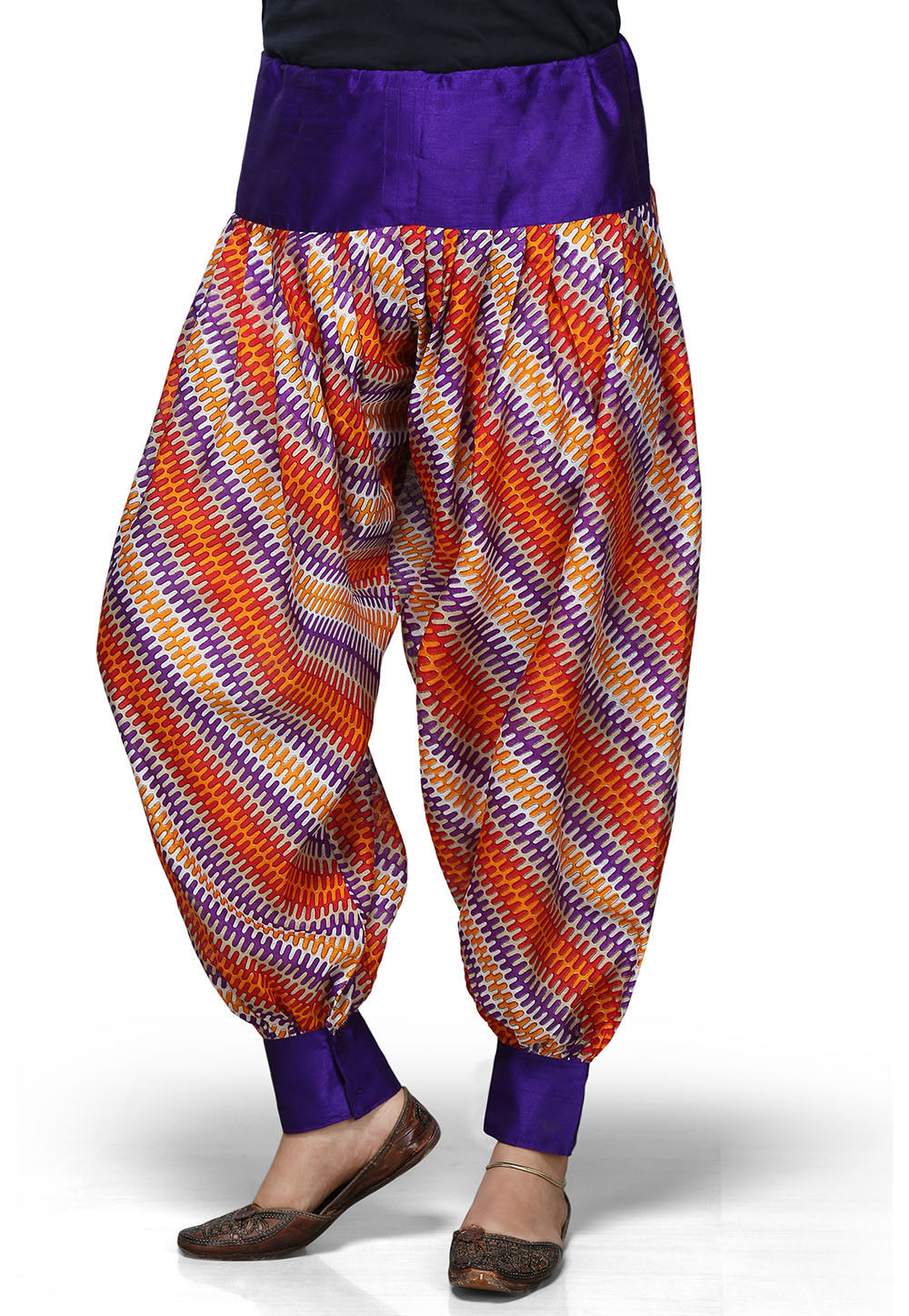 Violet and Multicolor Art Silk Readymade Jasmine Pant