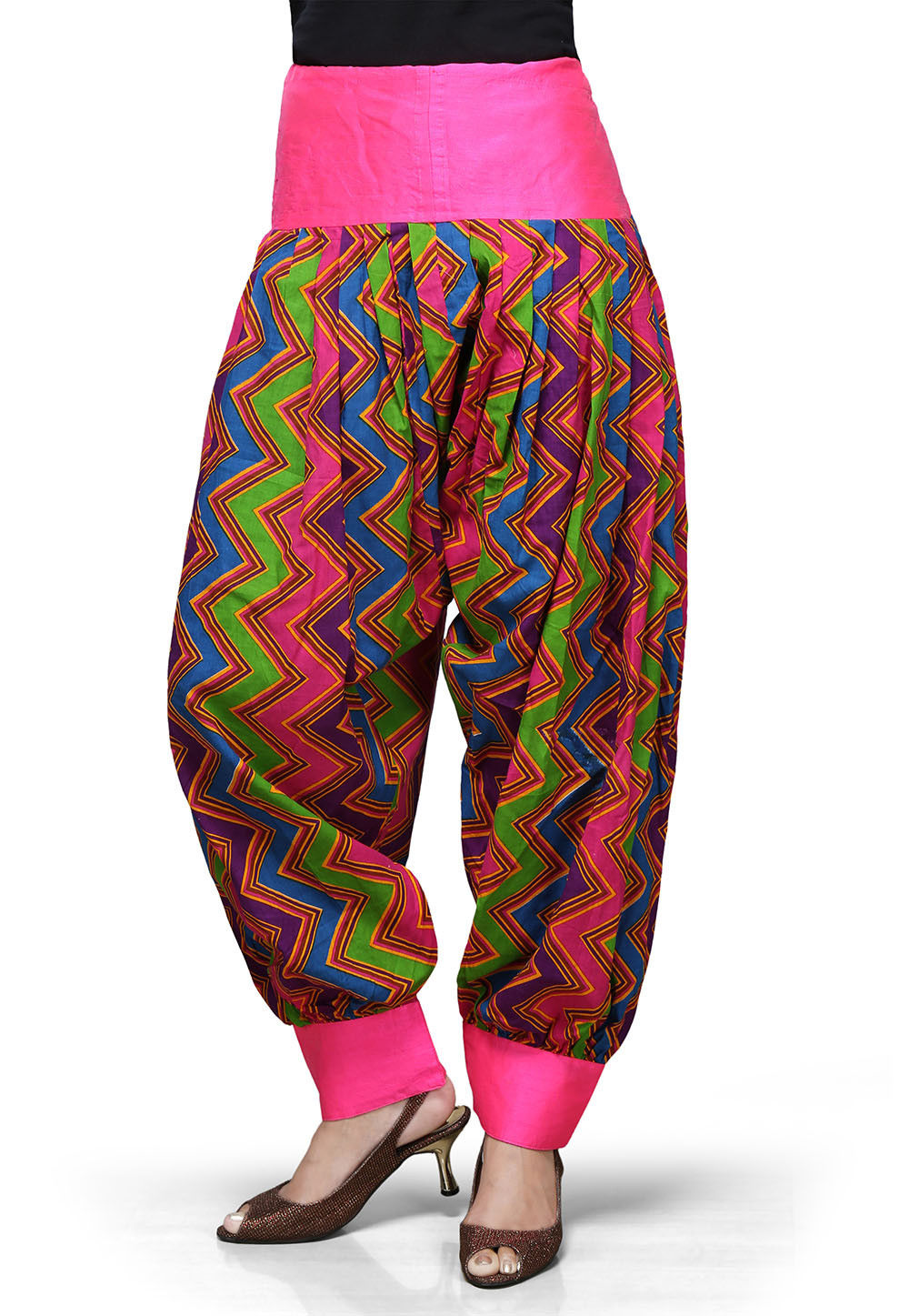 Printed Cotton Readymade Jasmine Pant in Multicolor