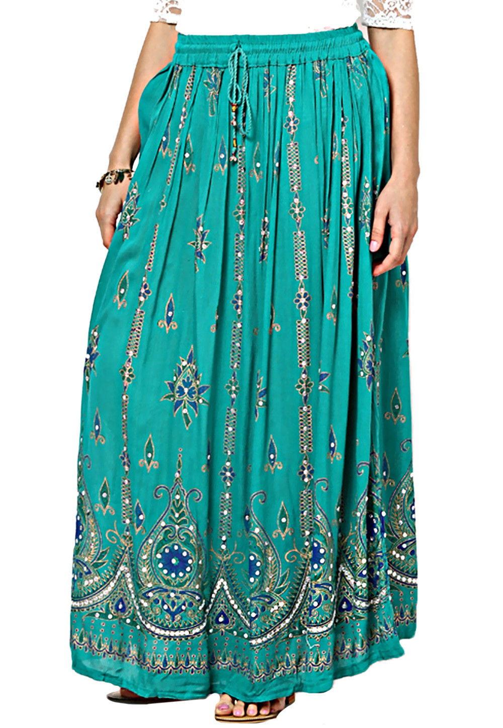 Cotton Readymade Long Skirt in Teal Blue