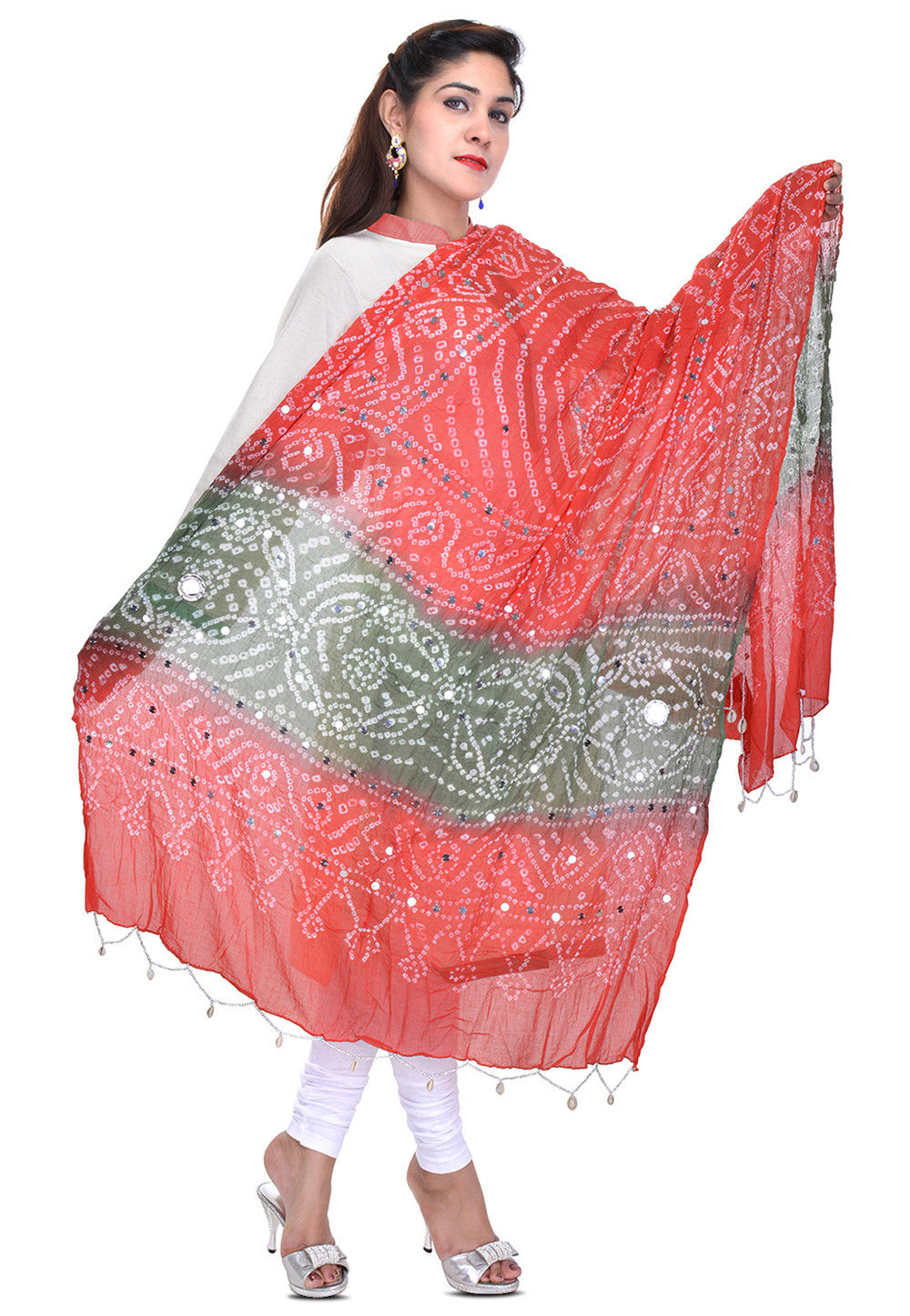Bandhani Printed Cotton Dupatta in Red and Grey