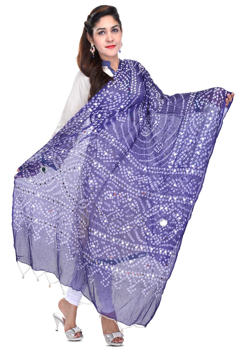 Bandhani Printed Cotton Dupatta in Blue