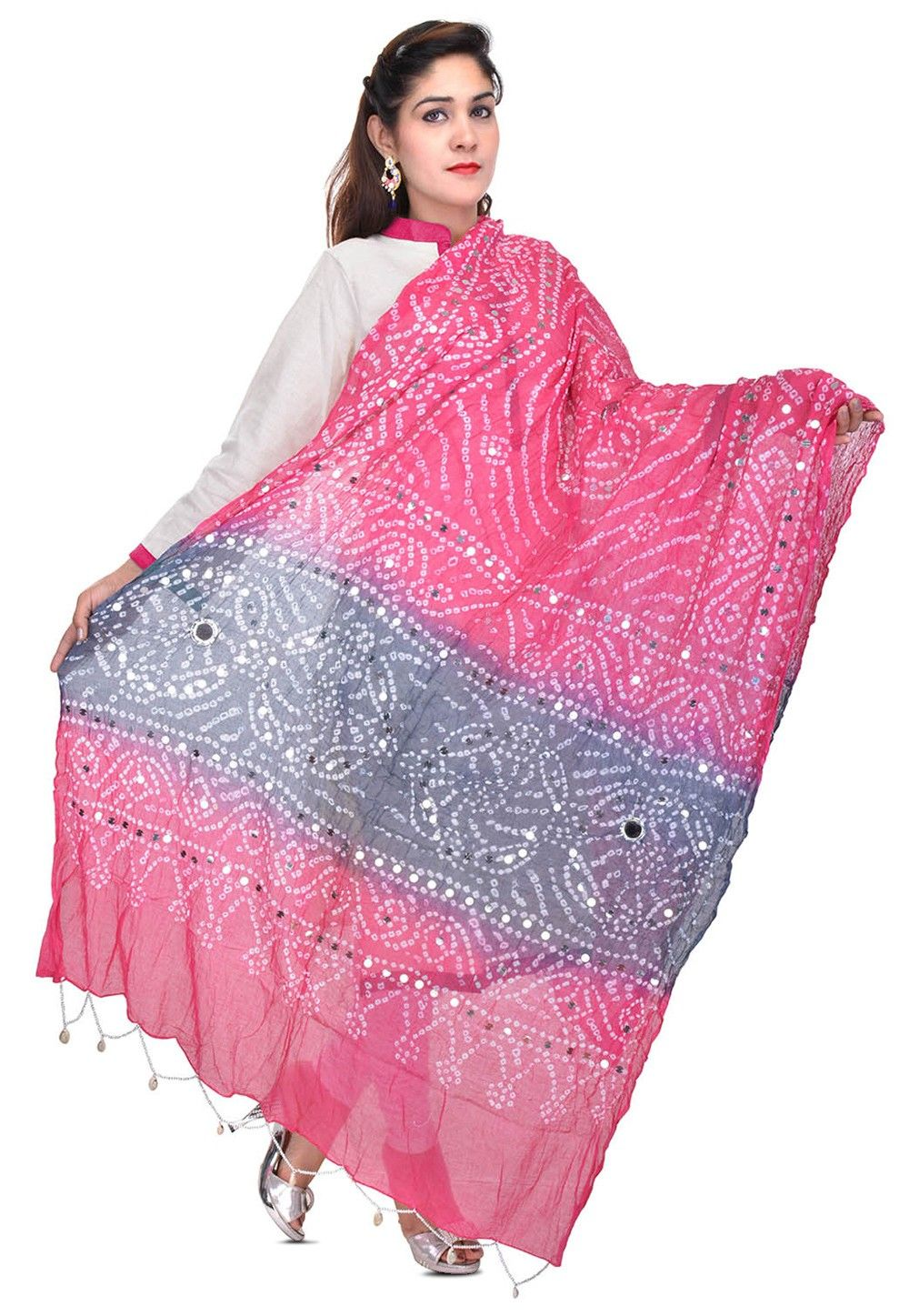 Bandhani Printed Cotton Dupatta in Pink and Blue