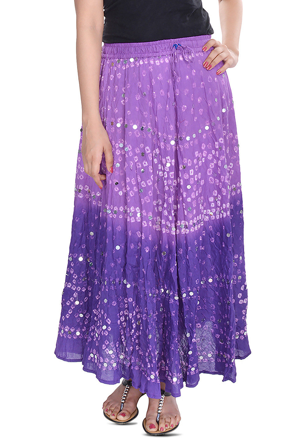 Bandhani Printed Cotton Long Skirt in Purple