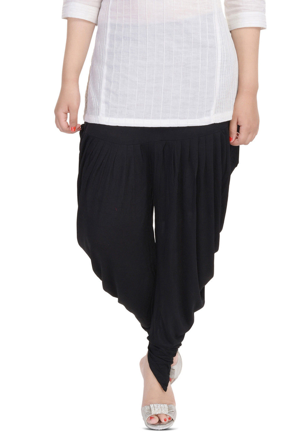 Cotton Lycra Dhoti Pant in Black