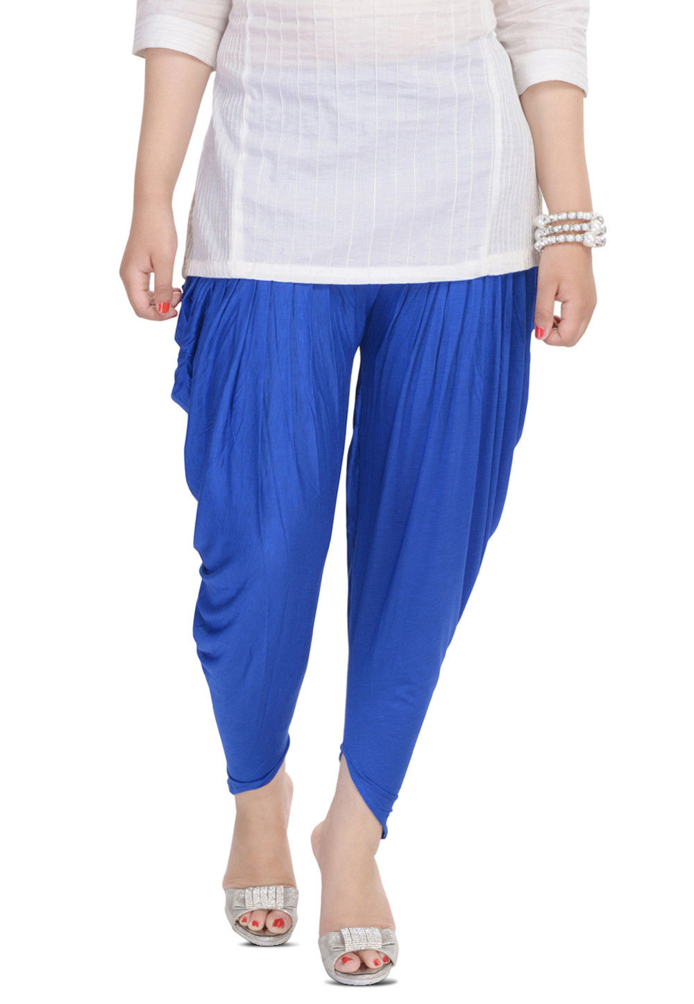 Cotton Lycra Dhoti Pant in Royal Blue