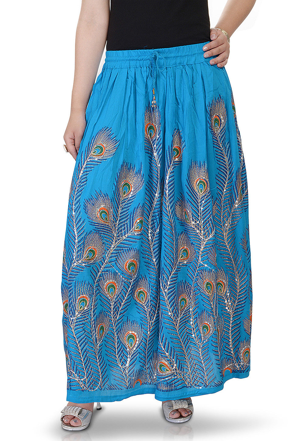 Printed Cotton Long Skirt in Blue