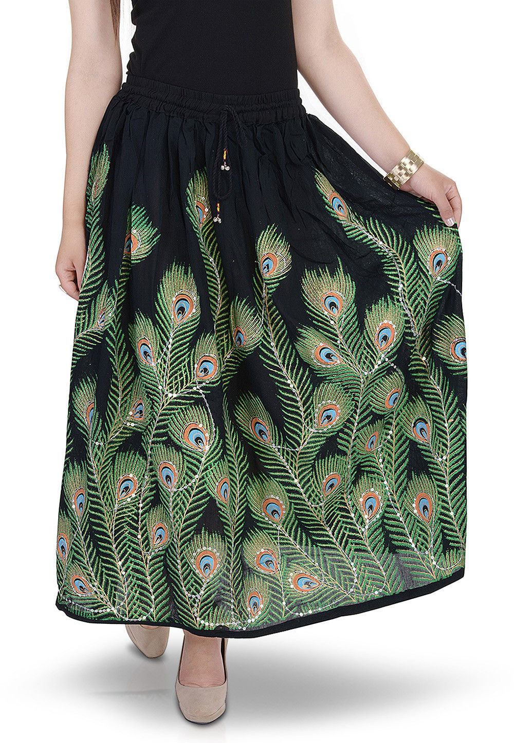Printed Cotton Long Skirt in Black
