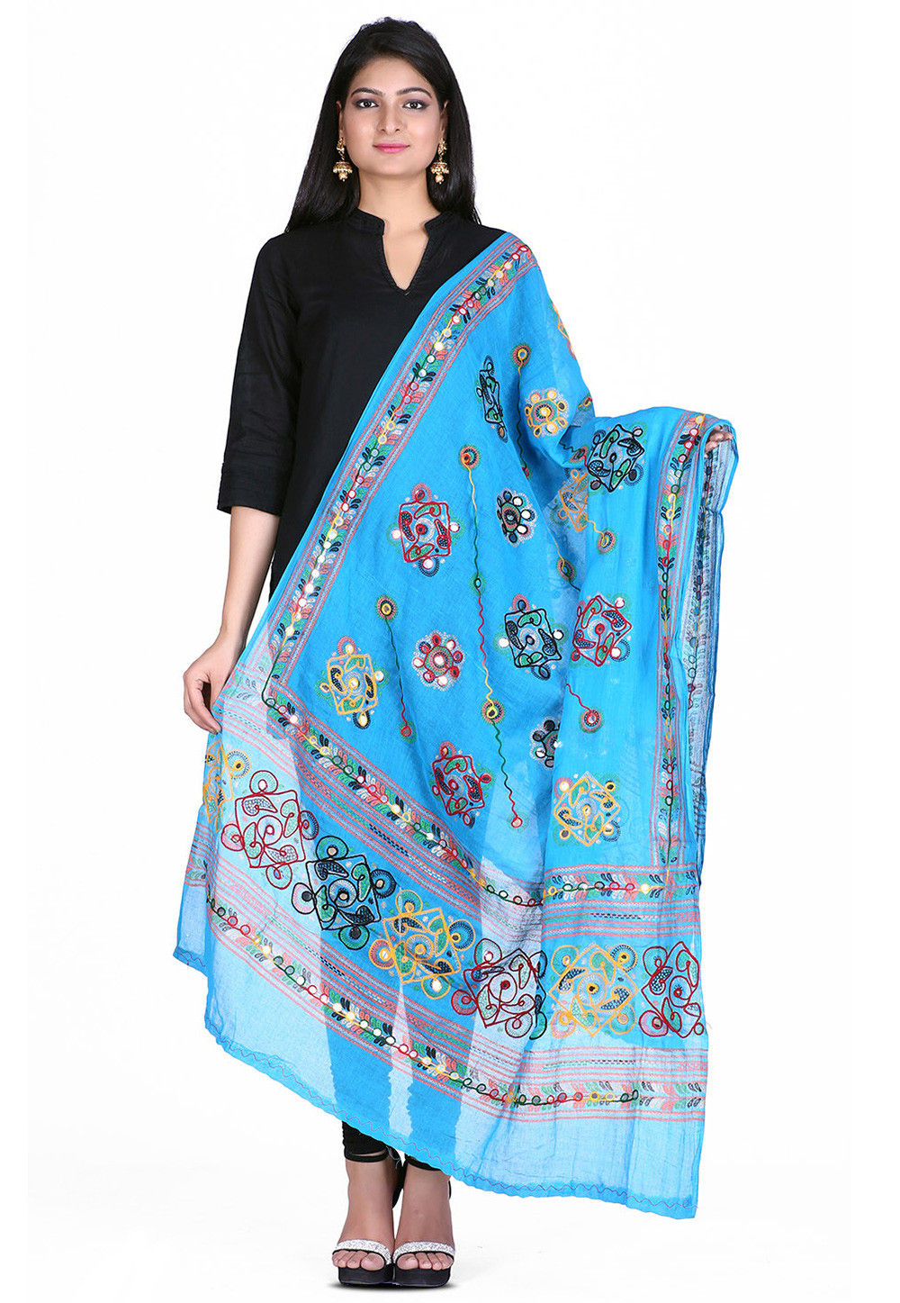 Kantha Embroidered Cotton Dupatta in Sky Blue
