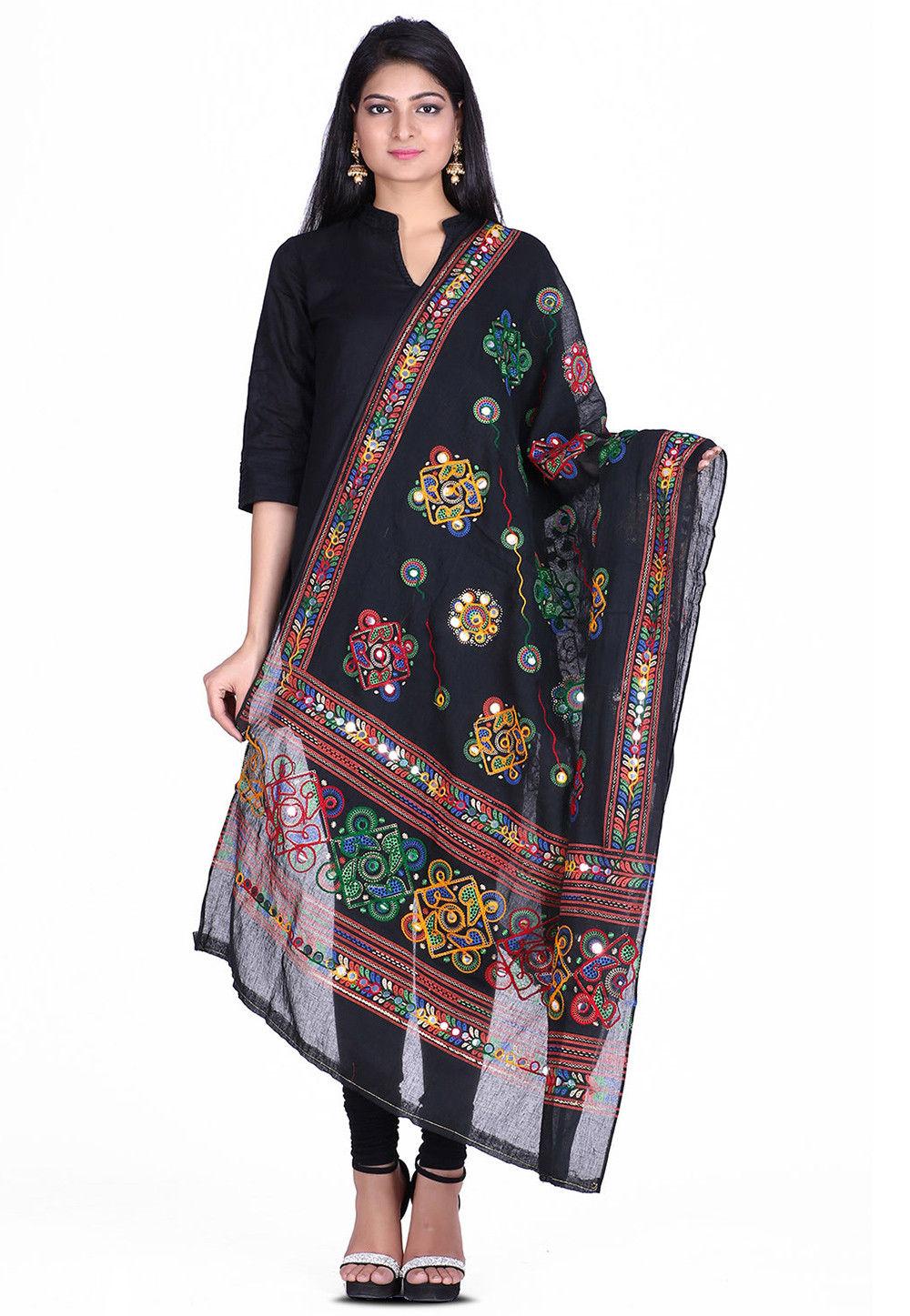 Kantha Embroidered Cotton Dupatta in Black