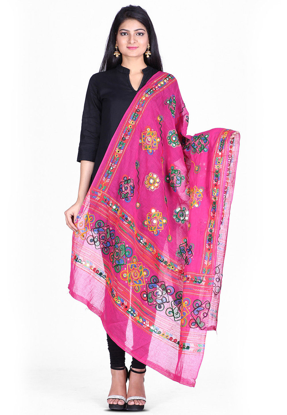Kantha Embroidered Cotton Dupatta in Pink