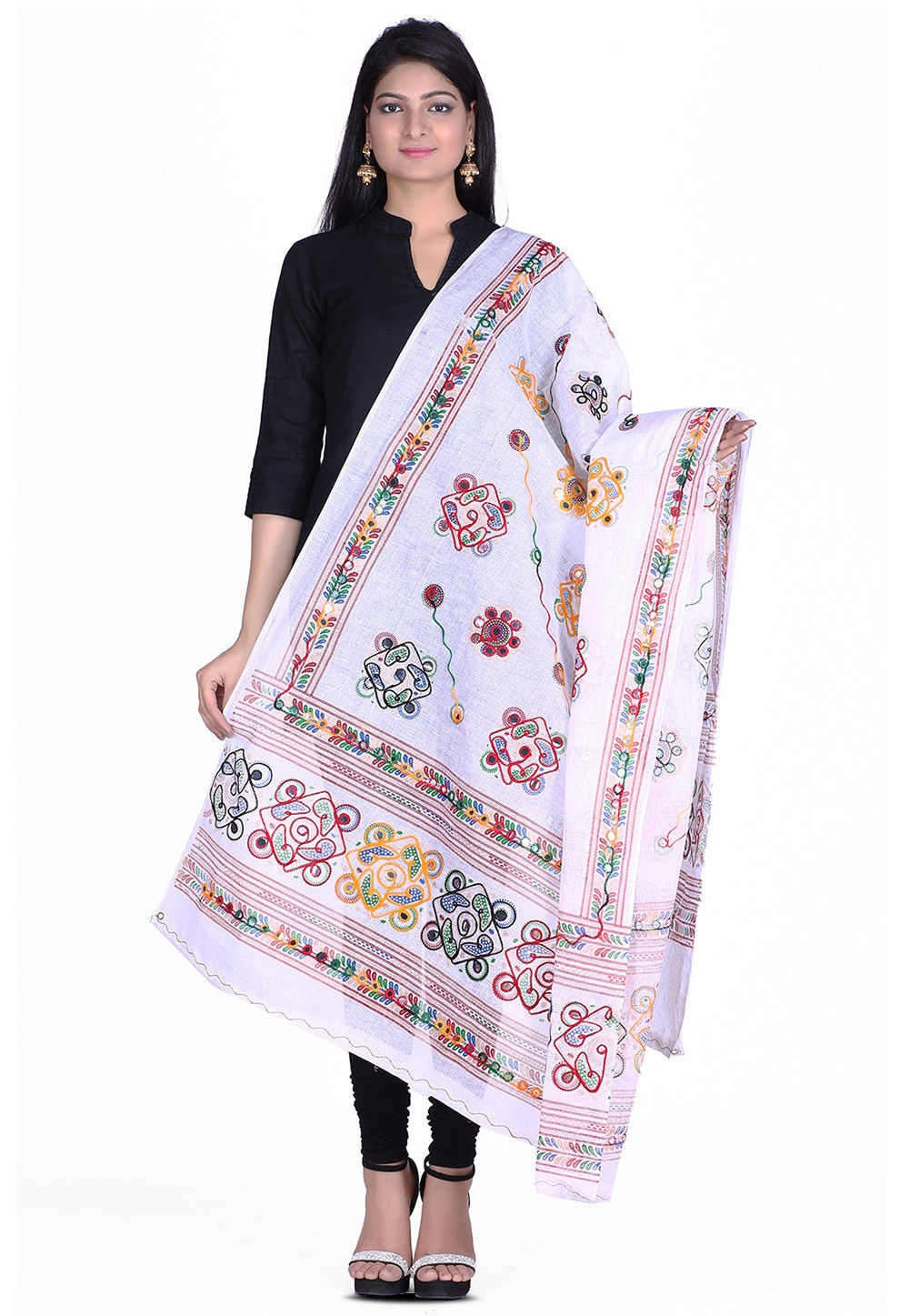 Kantha Embroidered Cotton Dupatta in White