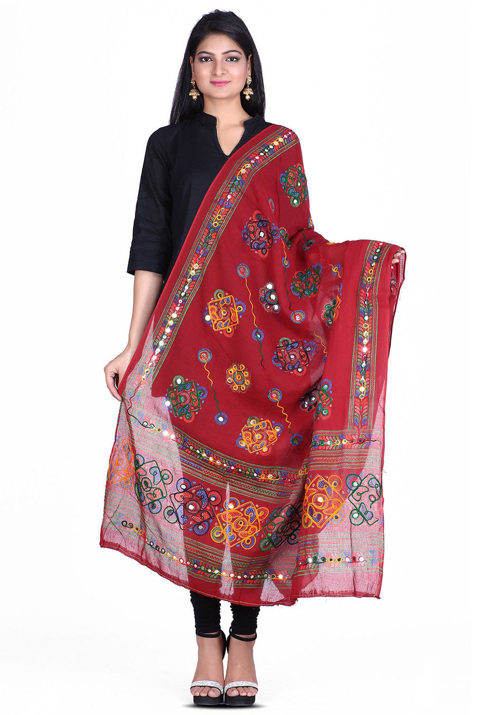 Kantha Embroidered Cotton Dupatta in Maroon