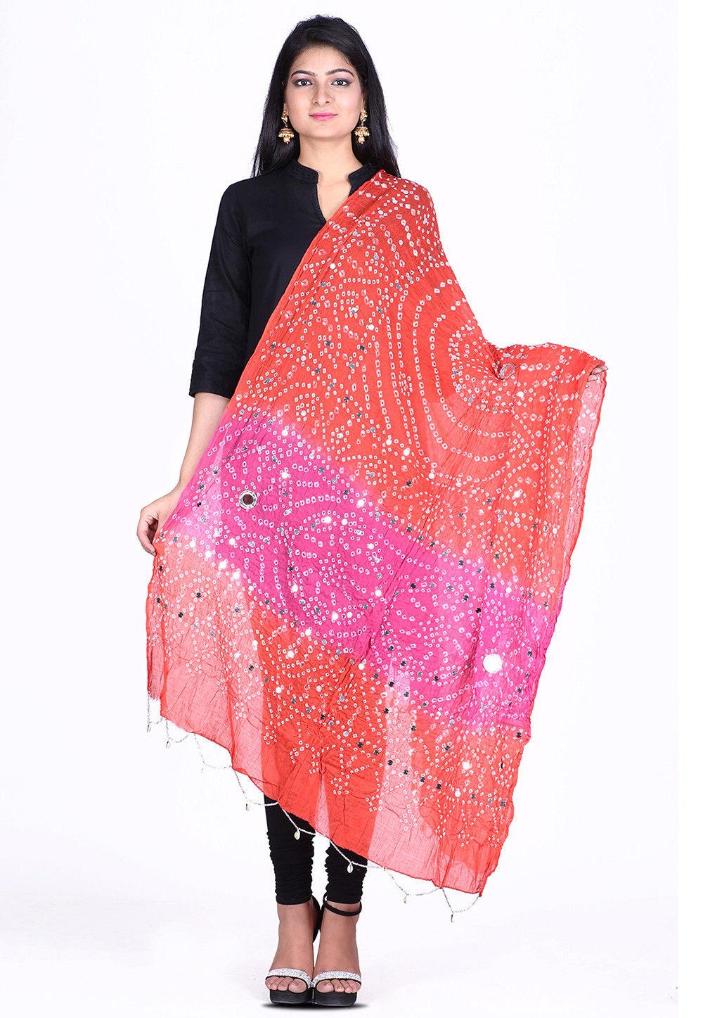 Bandhej Cotton Dupatta in Orange and Pink