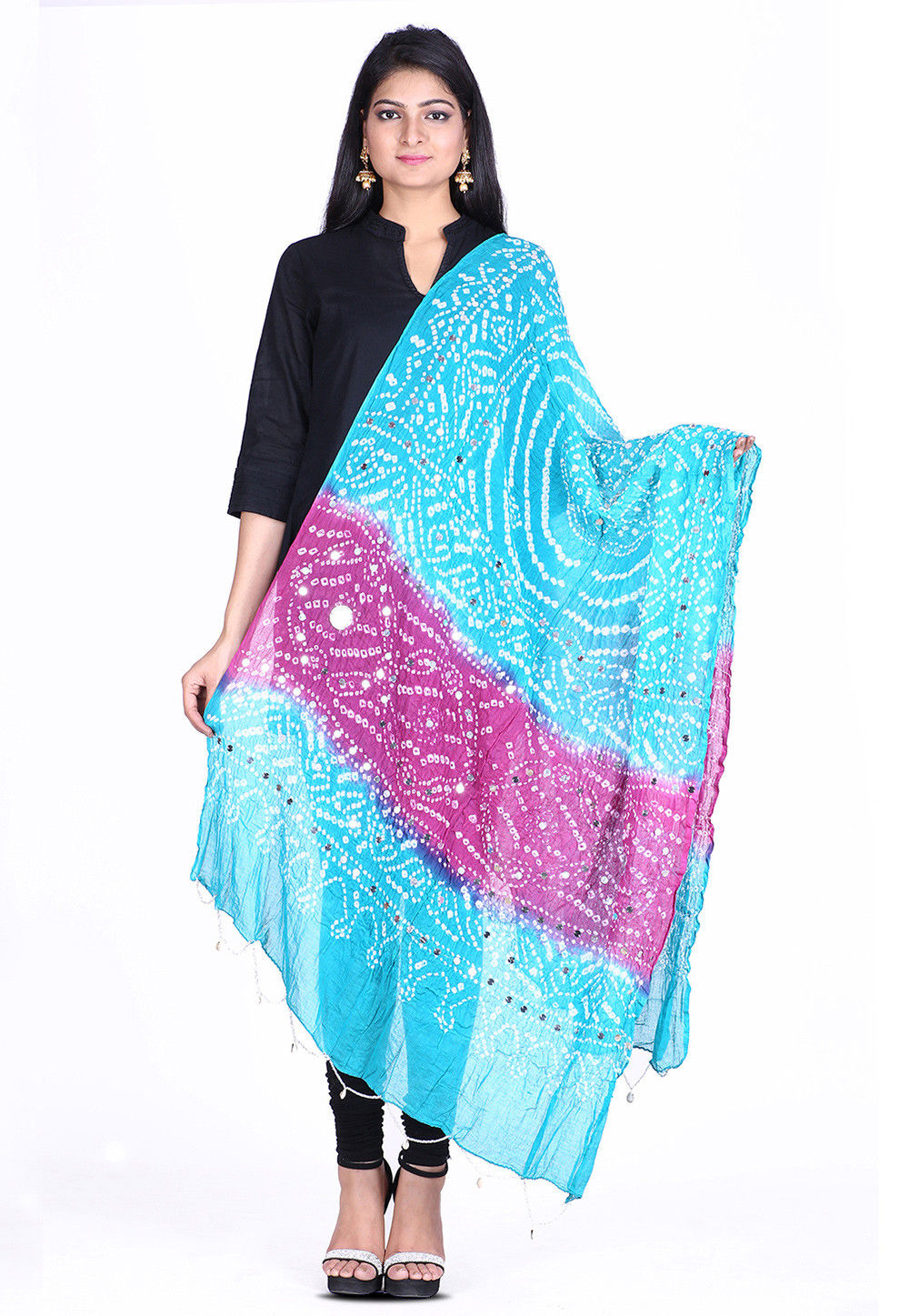 Bandhej Cotton Dupatta in Sky Blue and Purple
