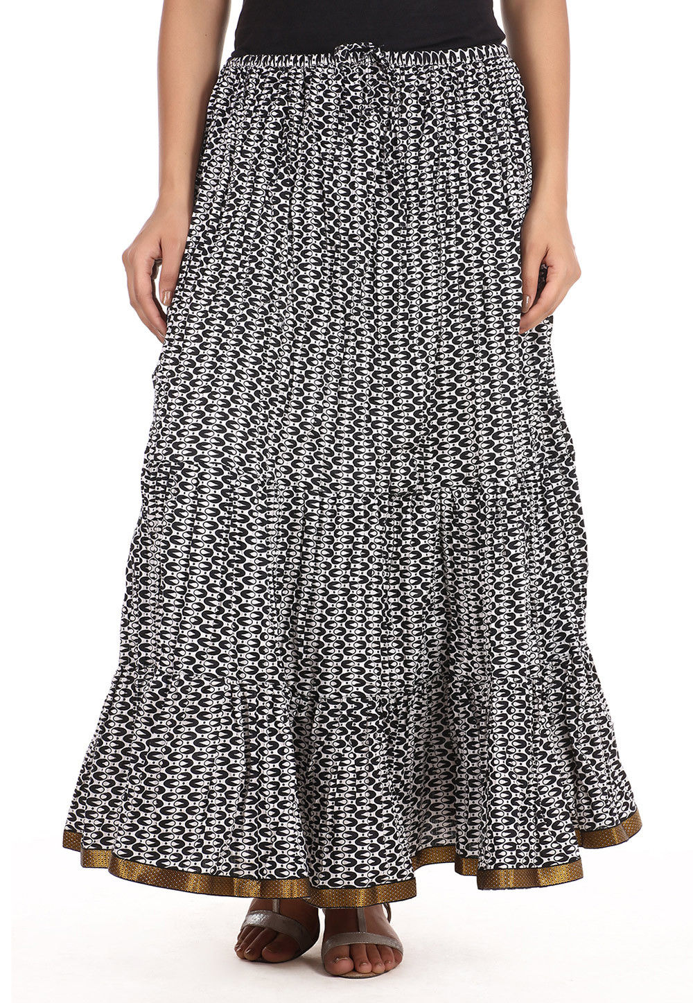 Printed Cotton Long Skirt in White and Black