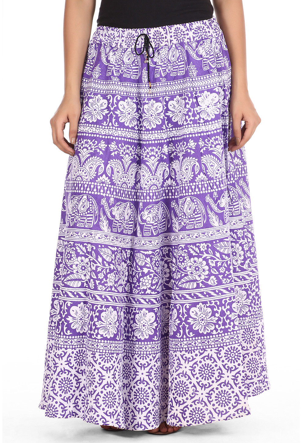 Printed Cotton Long Skirt in Purple and White