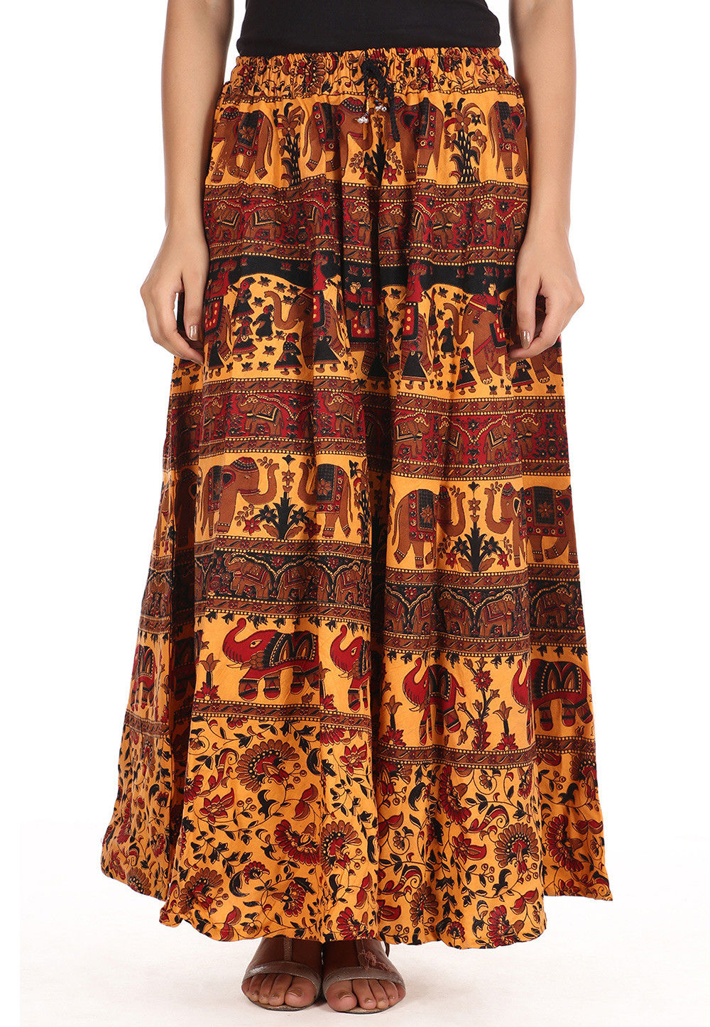 Printed Cotton Long Skirt in Multicolor