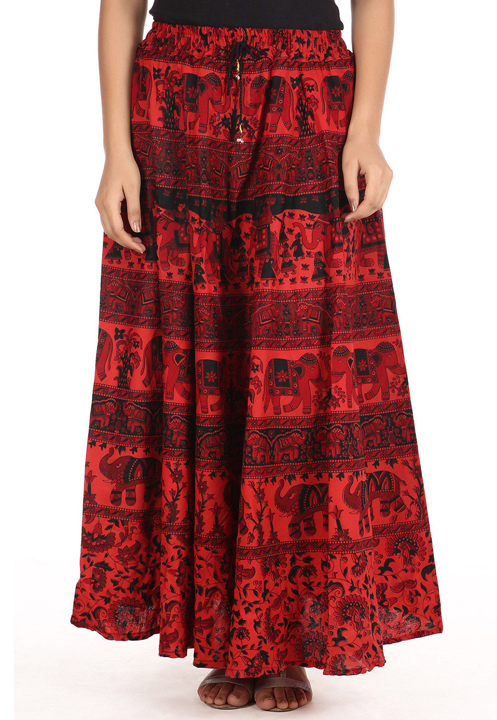 Printed Cotton Long Skirt in Red