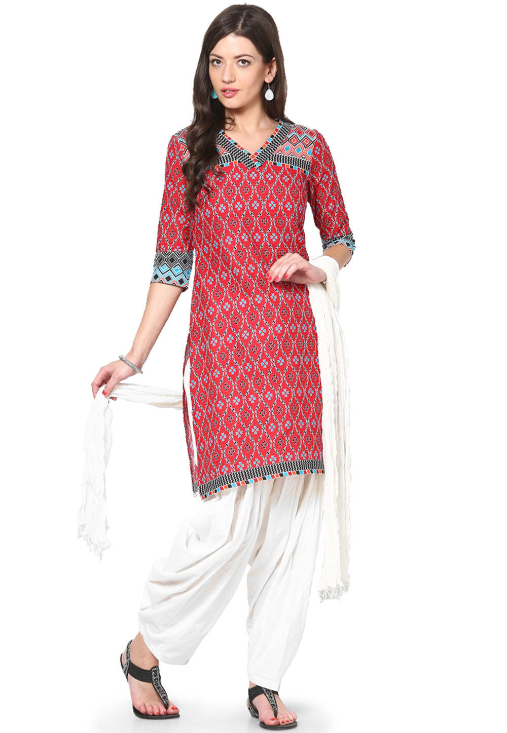 Solid Cotton Patiala and Dupatta Set in White