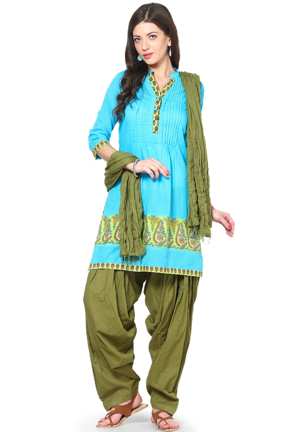 Solid Cotton Patiala and Dupatta Set in Olive Green