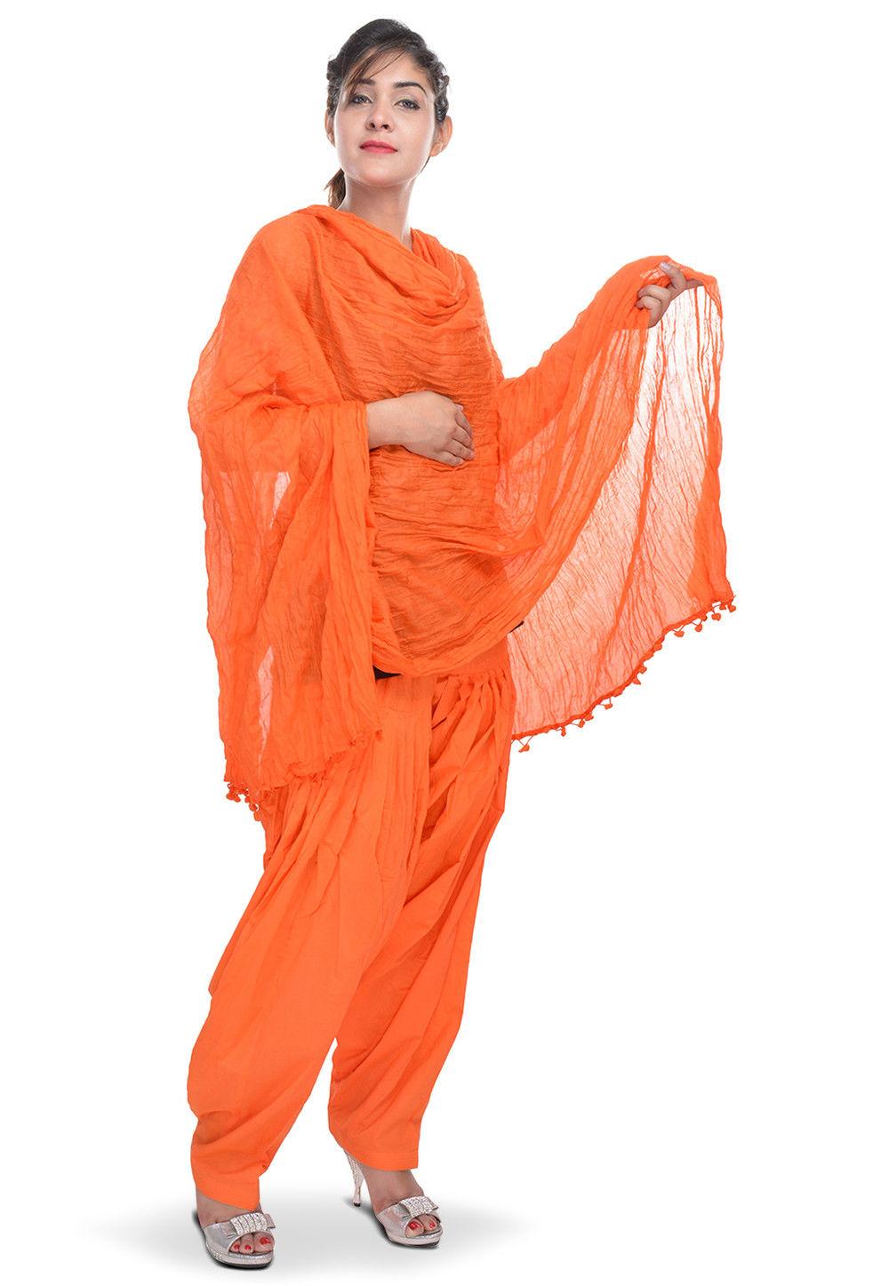 Solid Cotton Patiala and Dupatta Set in Orange