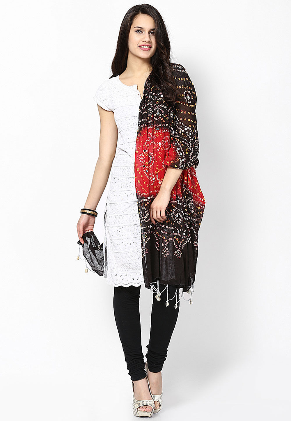 Bandhani Printed Cotton Dupatta in Black and Red