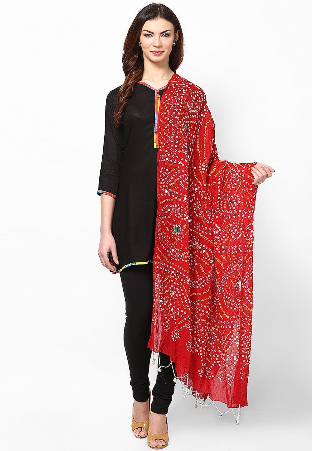 Bandhani Printed Cotton Dupatta in Red