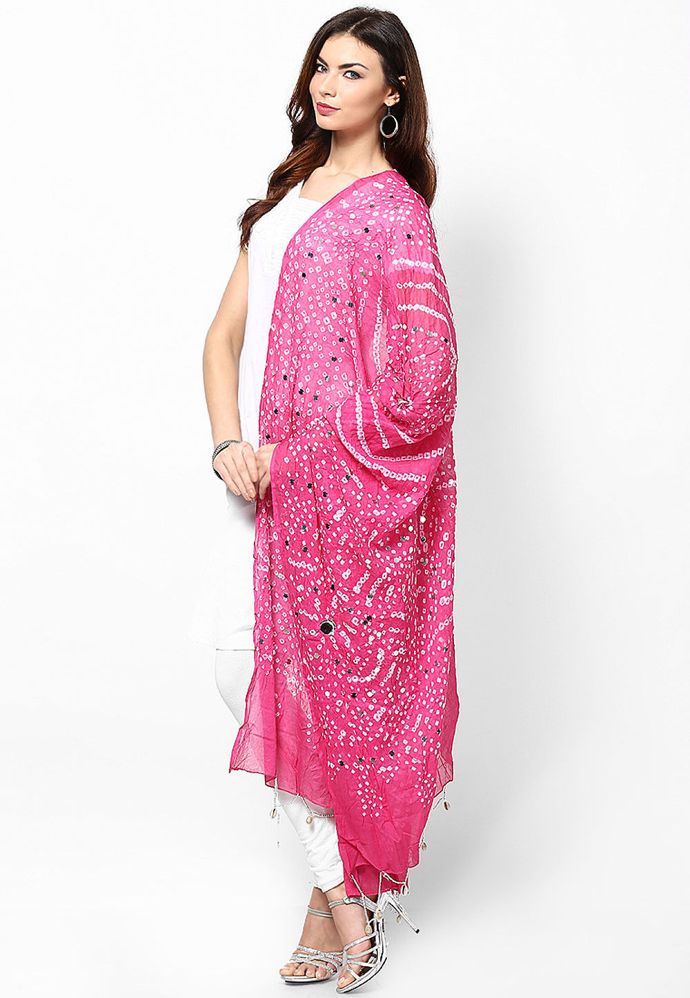 Bandhani Printed Cotton Dupatta in Pink