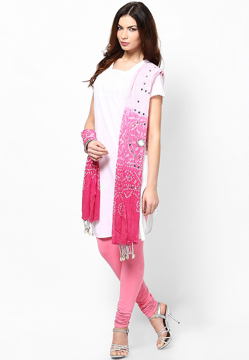 Bandhani Cotton Dupatta in Ombre Pink