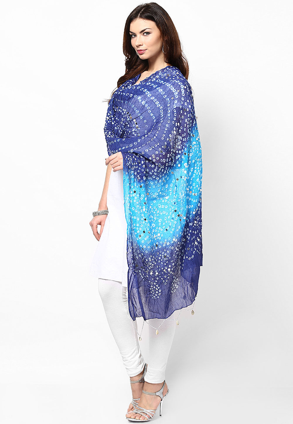 Bandhani Printed Cotton Dupatta in Blue and Turquoise