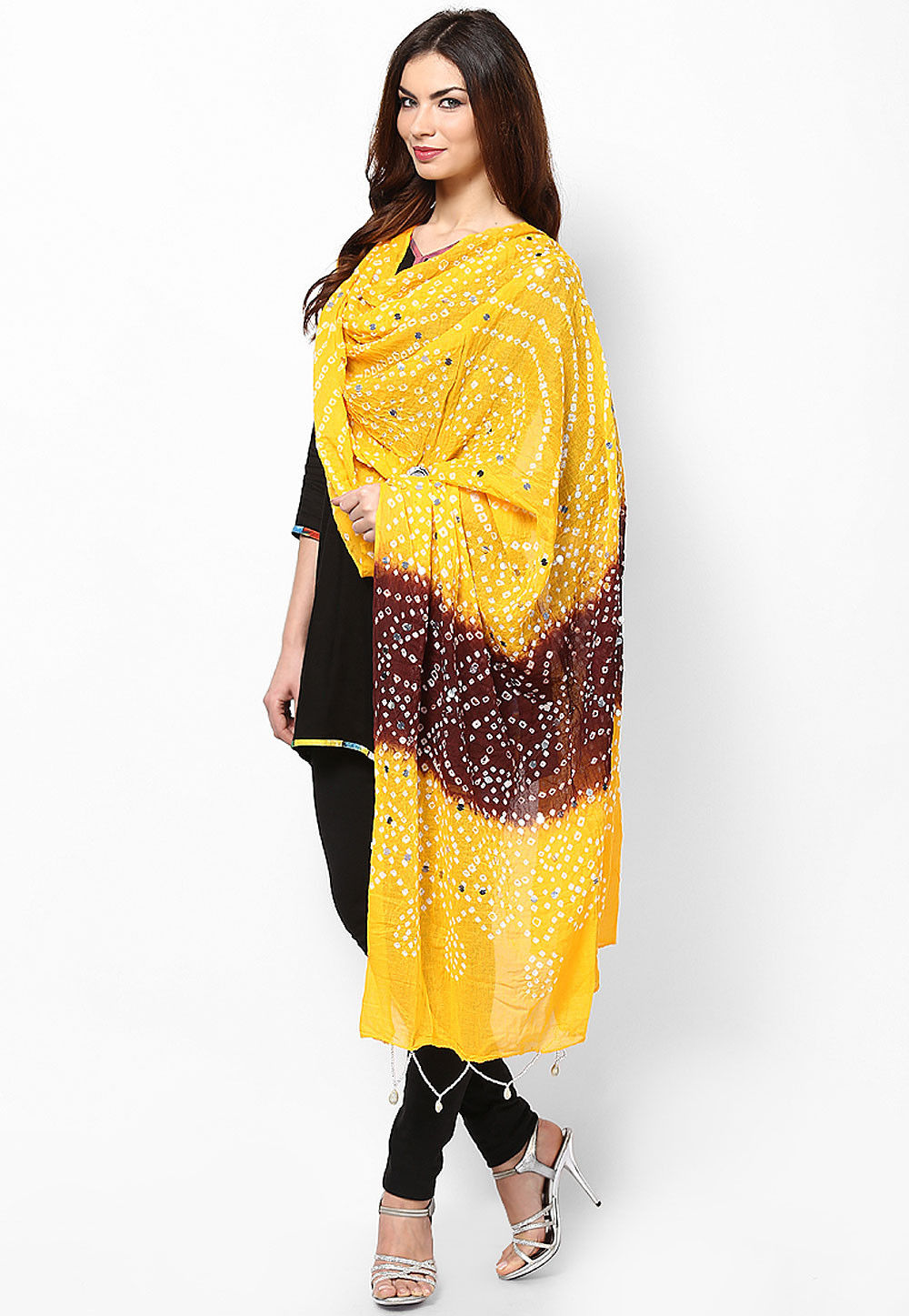 Bandhej Cotton Dupatta Mustard and Brown
