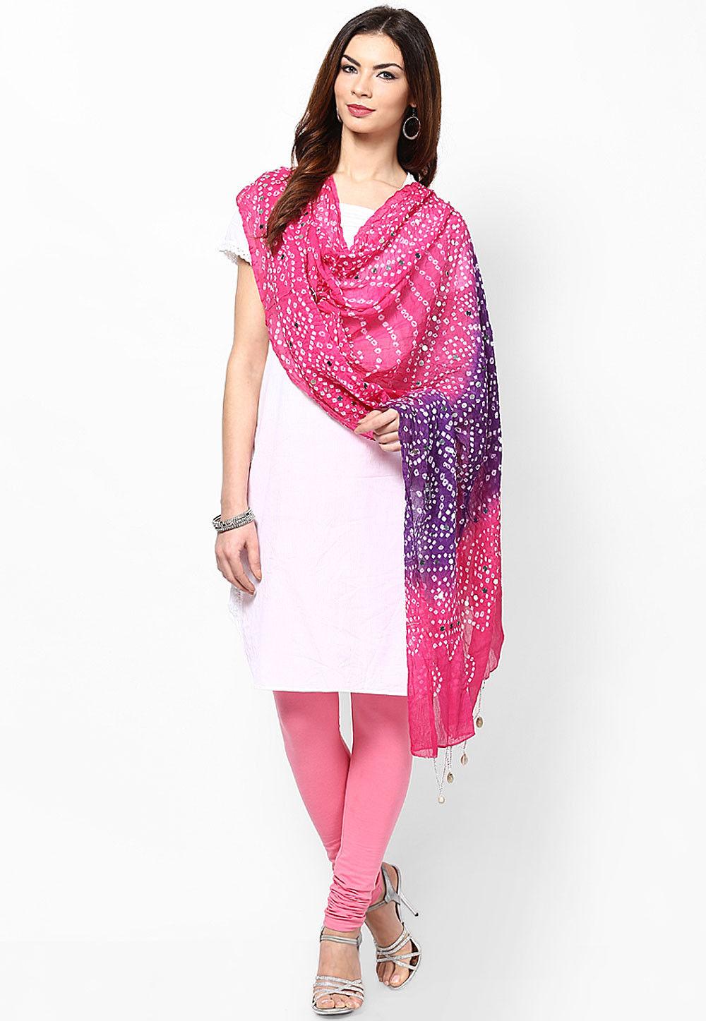 Bandhani Printed Cotton Dupatta in Fuchsia and Purple