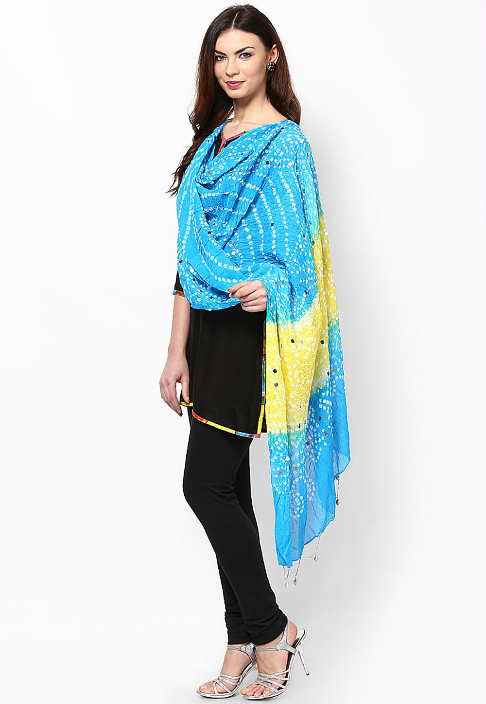 Embroidered Cotton Dupatta in Yellow and Blue