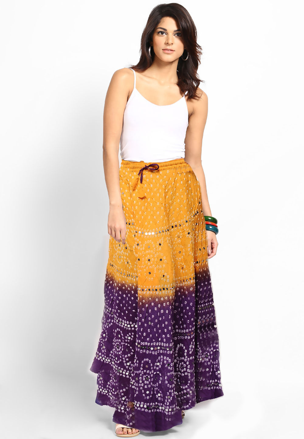 Embroidered Cotton Long Skirt In Light Orange and Purple